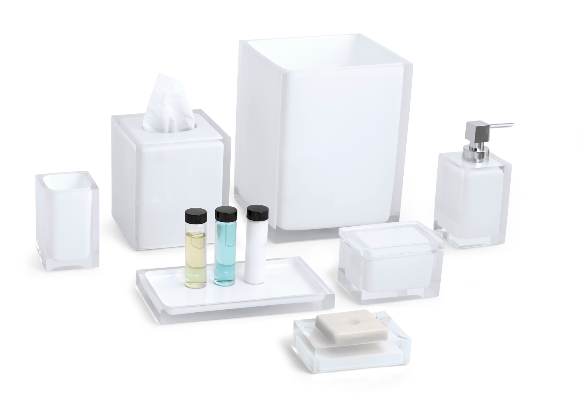 Cubix White Bath Set image